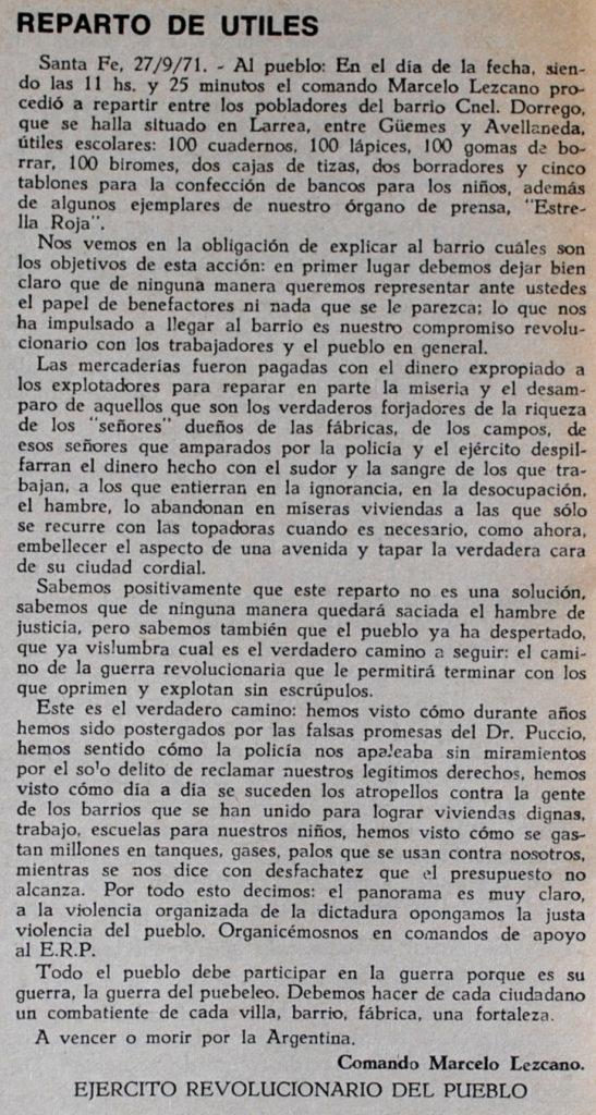 1971 septiembre 27. Reparto de utiles