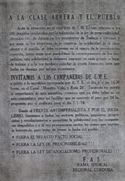 thumbnail of A la clase obrera y al pueblo. Rama sindical Cordoba