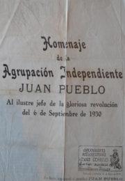 thumbnail of Agrupacion Independiente. Homenaje a Uriburu