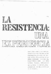 thumbnail of La Resistencia. Una experiencia